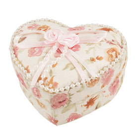 Pink Flowers Fabric Covered Ring Necklace Heart Jewelry Gift Box Holder