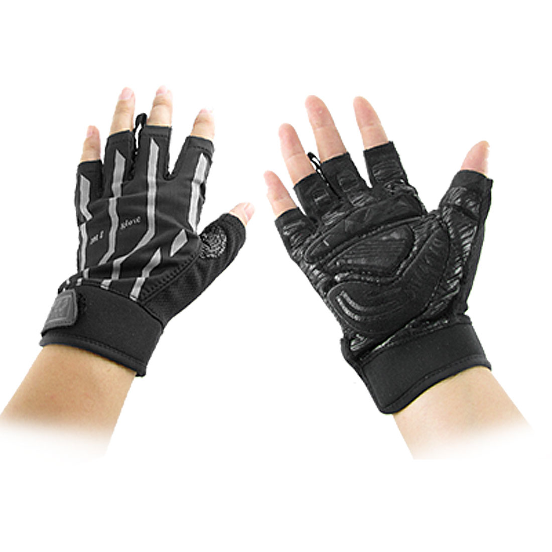 Man Black Gray Mountain Bike Driving Fingerless Gloves 2 Pcs