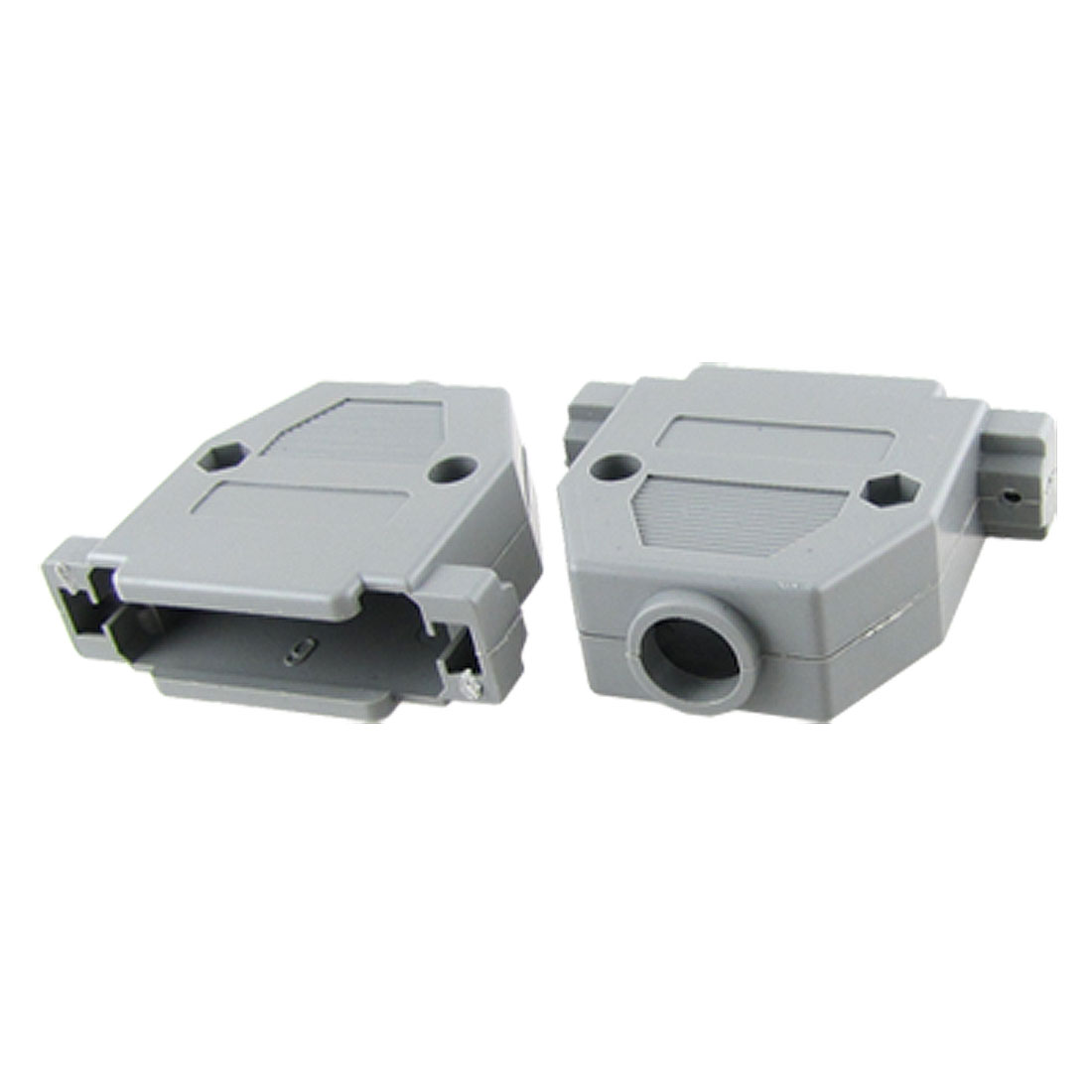 2 Pcs DB25 Male Female Gray Plastic Hoods Shell w Screws