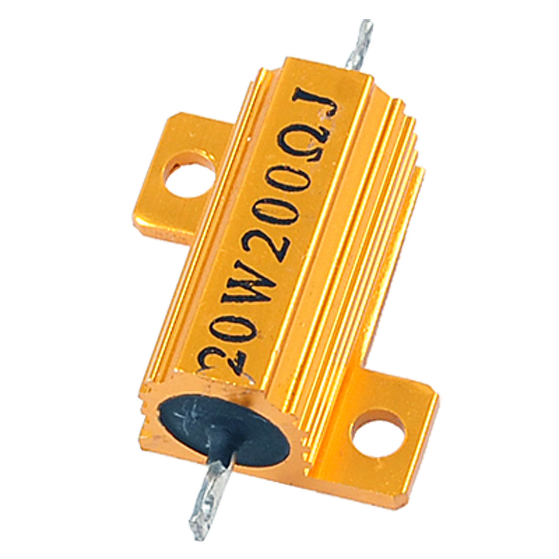 20W 200ohm Wirewound Gold Tone Aluminum Housed Resistor