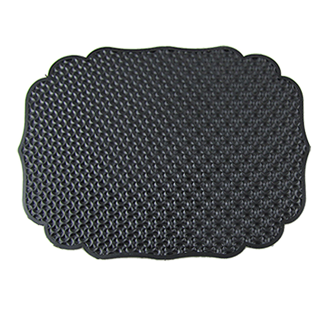 Auto Car Black Soft Rubber Textured Surface Wavy Trim Nonslip Mat