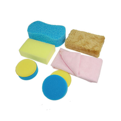 Auto 8 in 1 Round Rectangular Sponge Pad Pink Towel Car Cleaing Kit