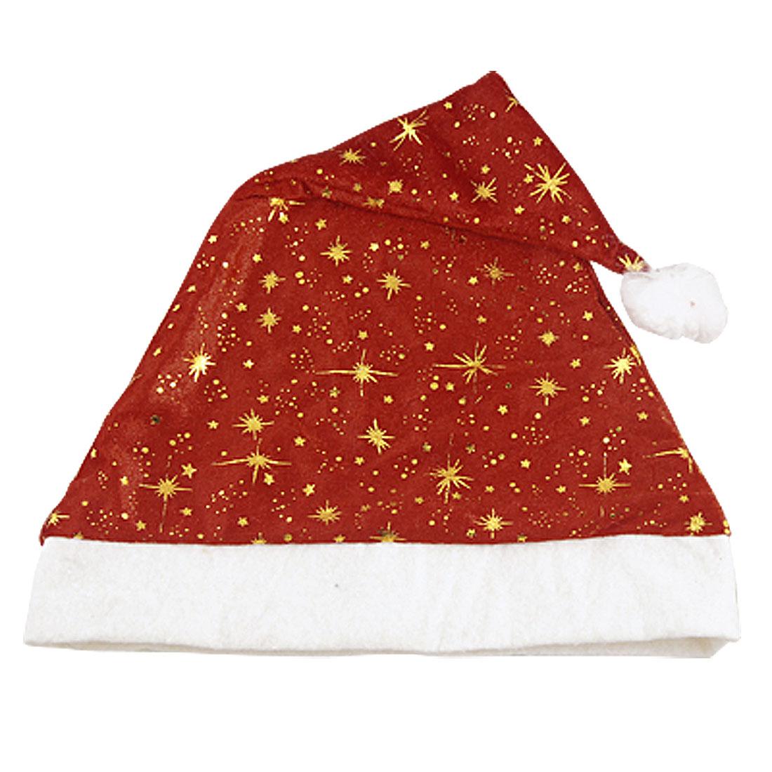Christmas White Fleece Hem Red Velvet Santa Claus Hat for Adult