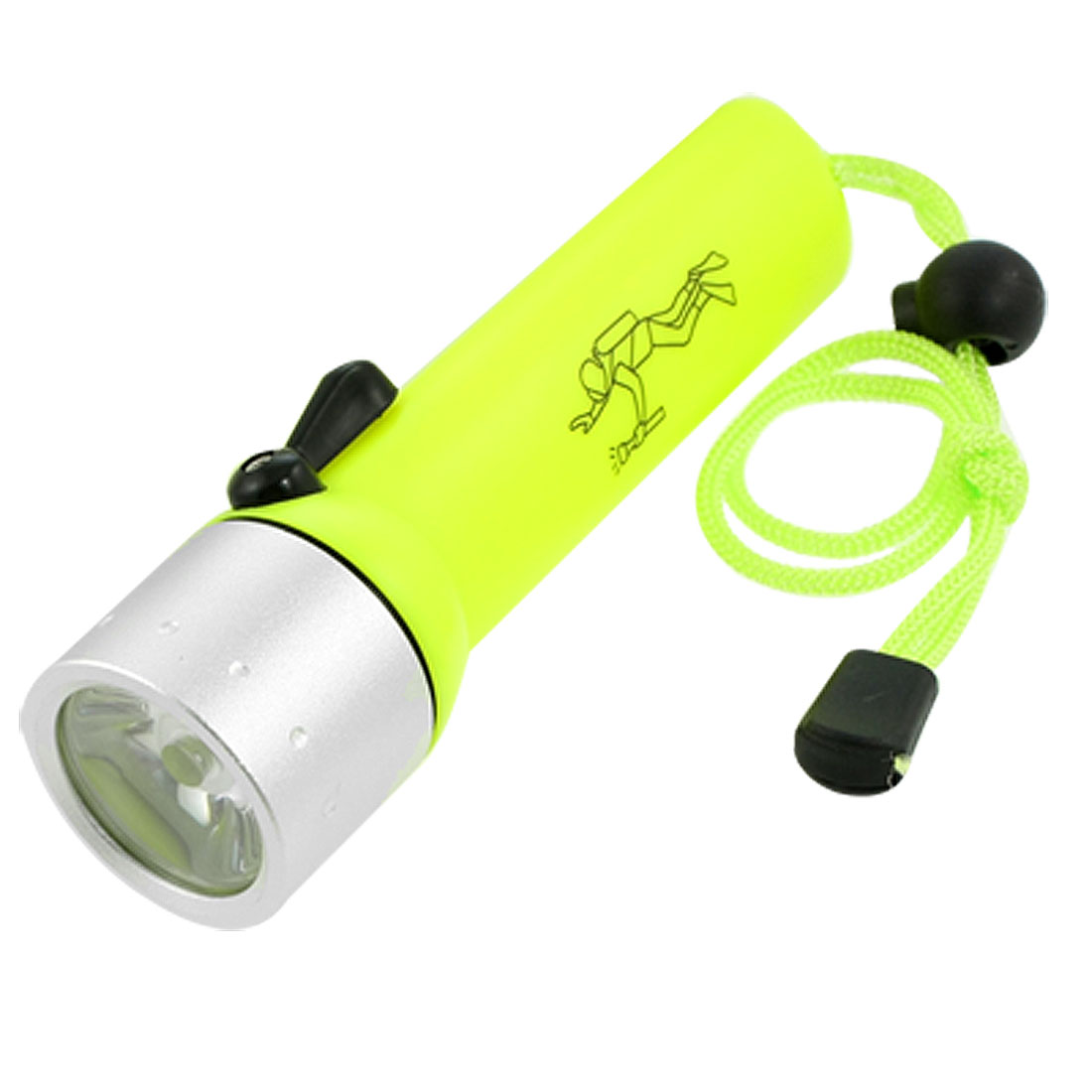 Yellow Green Case 180LM White LED Light Battery Powered Diving Flashlight Torch