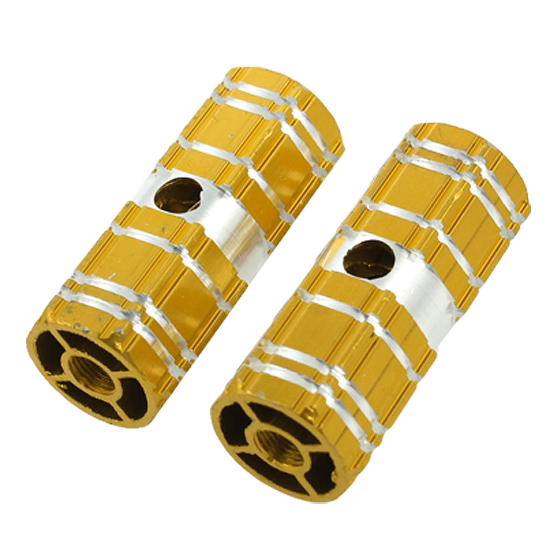 2 Pcs Aluminum Antislip Bicycle Axle Foot Pegs Gold Tone