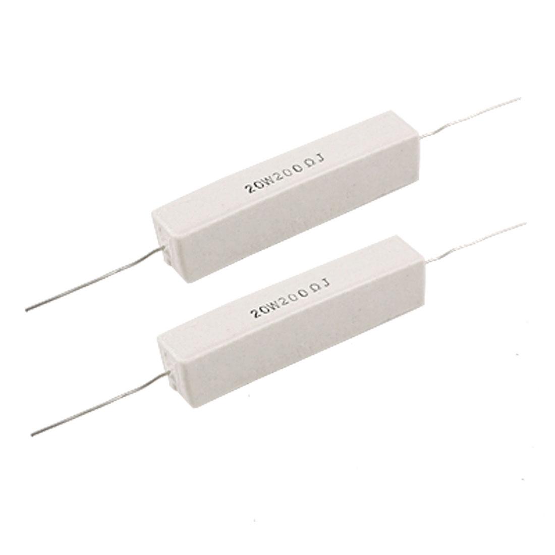 2 Pcs Axial Lead Ceramic Cement Resistor 200 Ohm 20W 5%