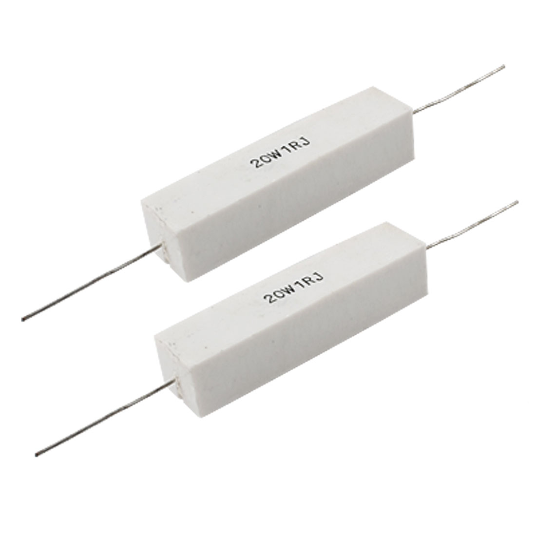 2 x 20W 1 Ohm 5% Fixed Type Wire Wound Cement Resistors