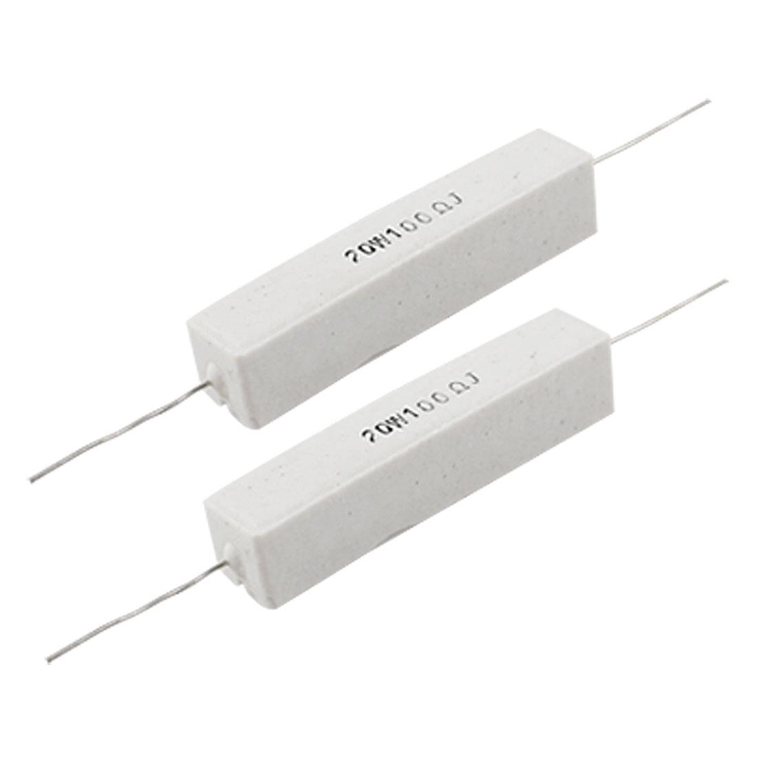 2 Pcs 5% 20W Watt 100 Ohm Wirewound Cement Power Resistors