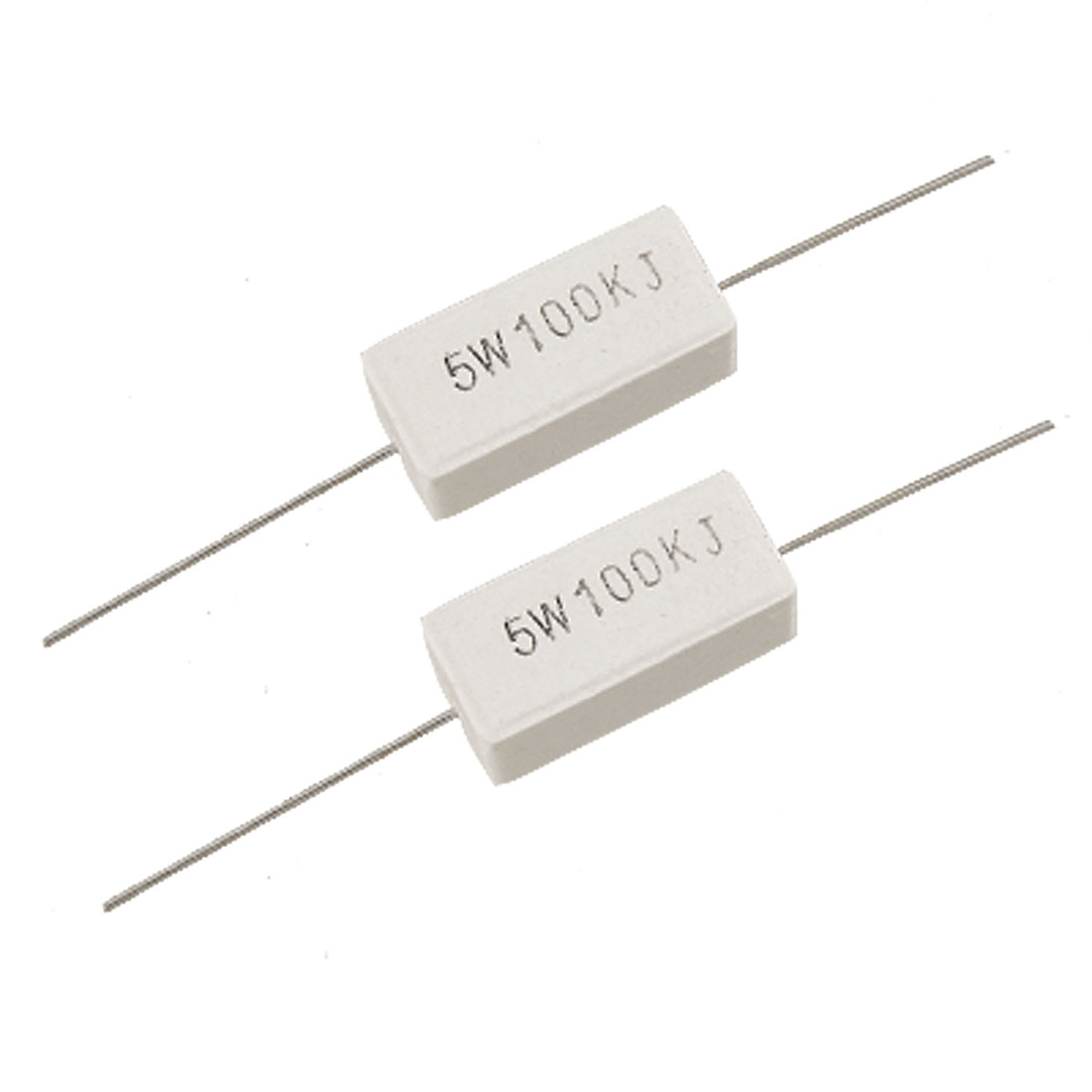 10 Pcs 5W Watt 100K Ohm Wire Wound Cement Power Resistors