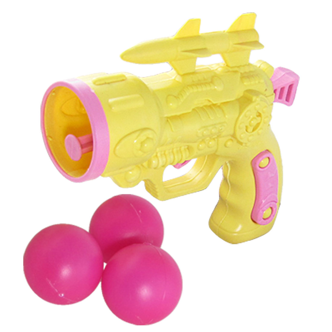 Children Plastic Yellow Gun Fight Toy w 3 Pcs Table Tennis