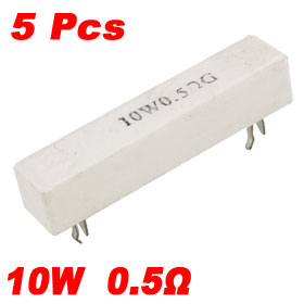 5 Pcs 10W Watt 0.5 ohm 2% DIP Ceramic Cement Resistors