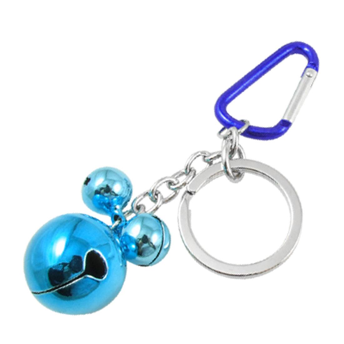 Royal Blue Carabiner 3 Bells Pendant Split Ring Keychain Keys Holder