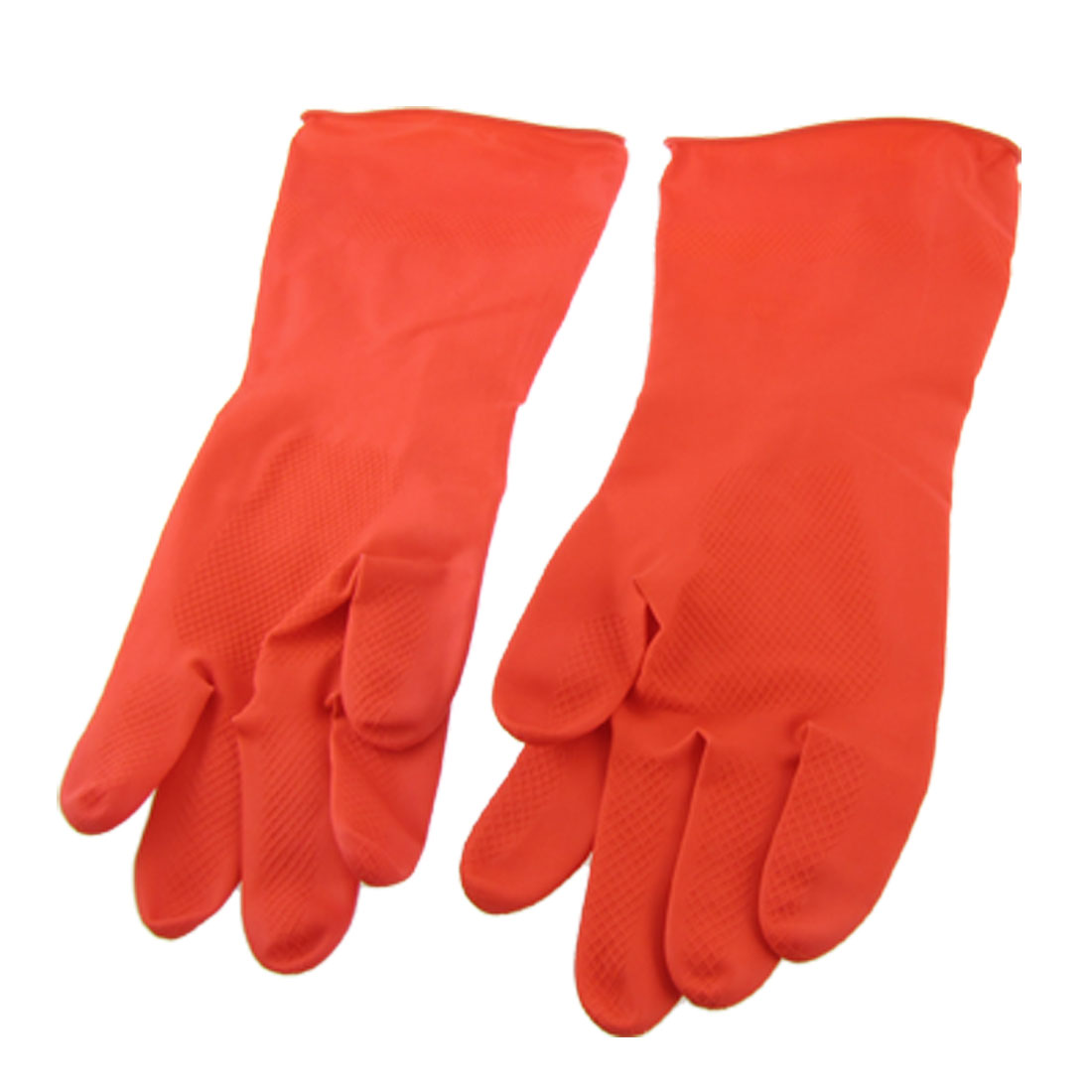 Home Kitchen Latex Water Resistant Dish Washing Cleaning Long Gloves Pair Red