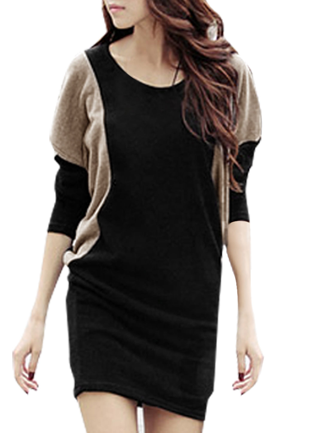 Ladies Scoop Neck Long Bat Sleeve Loose Tunic Dress Black Khaki S