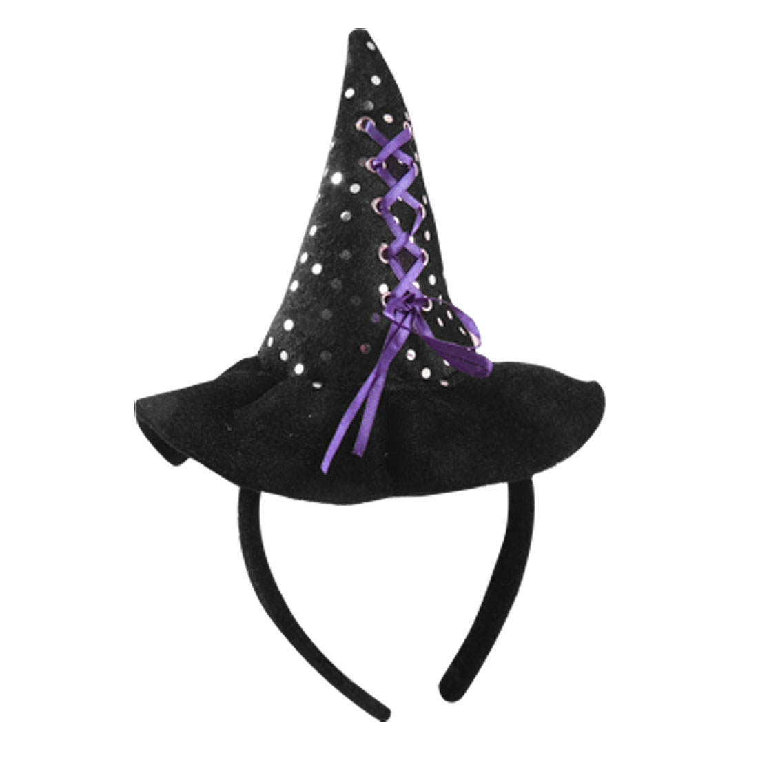 Children Silver Tone Sequin Decor Witch Hat Style Hair Band Black