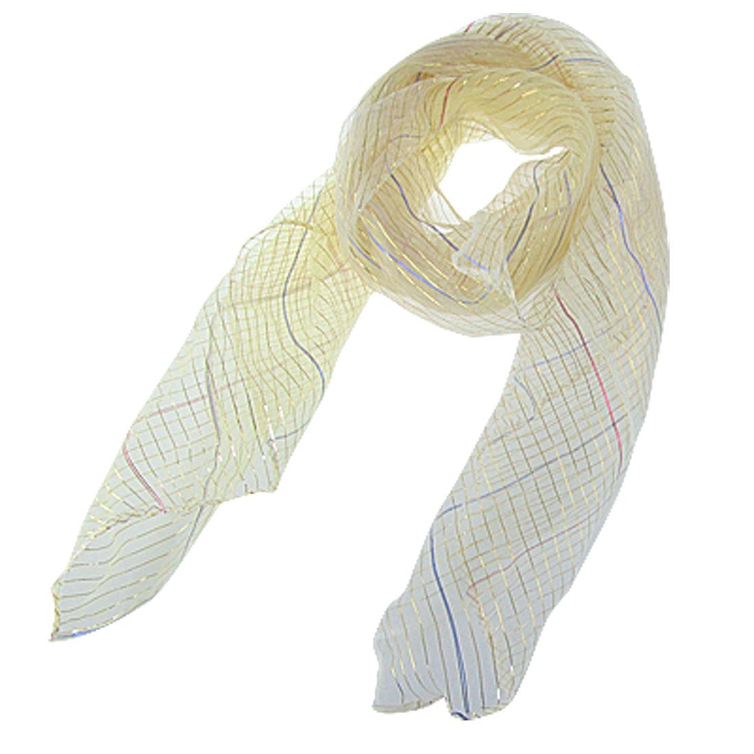 "Beige Sheer Nylon Scarf Neck Wrap 25"" x 24"" for Women"