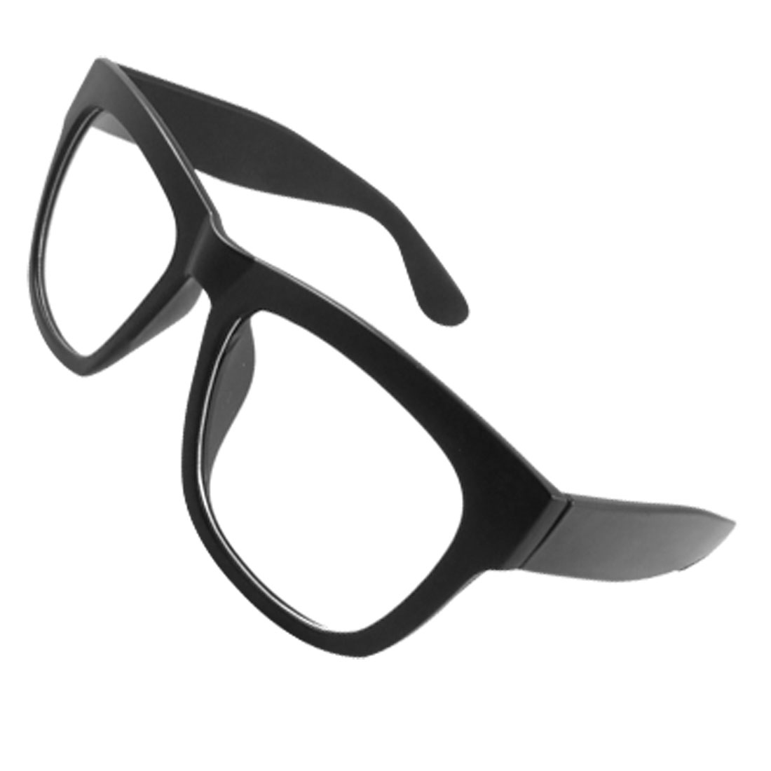 Lady Man Black Rubberized Plastic Full Rim Broad Arm Clear Lens Glasses
