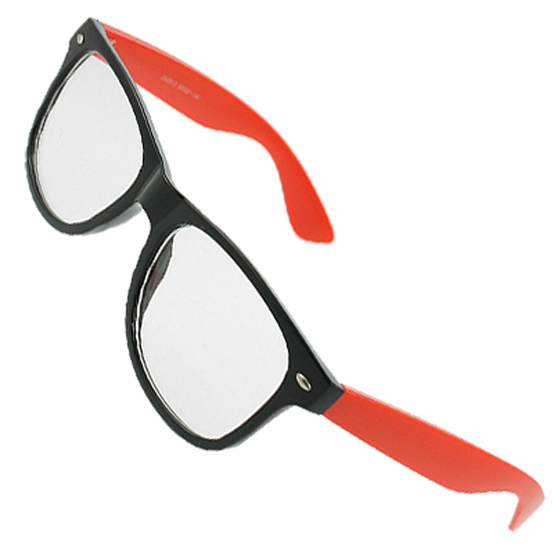 Black Red Plastic Full Frame Oval Shape Clear Lens Glasses for Women