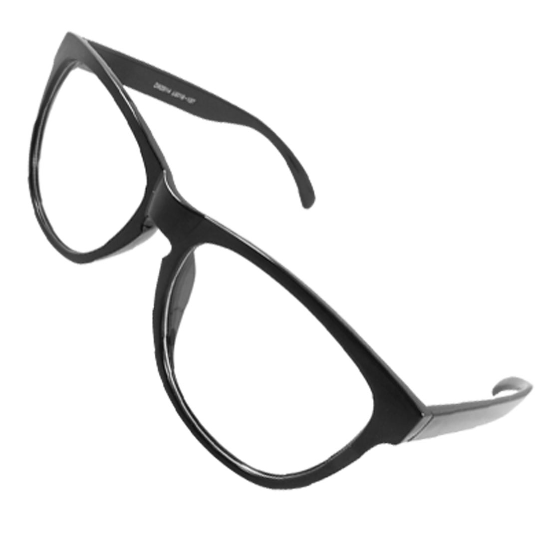 Black Full Rim Black Arms Plastic Ellipse Lens Unisex Plain Glass Spectacles