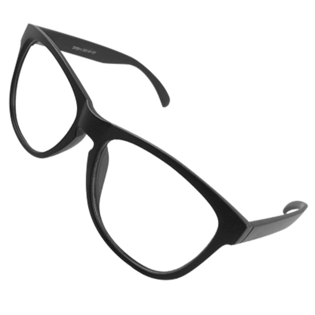 Women Clear Oval Lens Full Rimmed Plain Glasses Spectacles Black