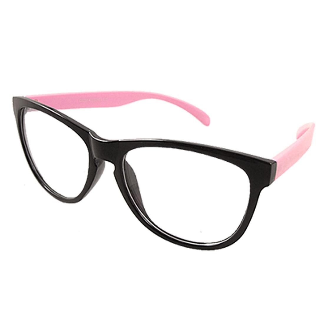 Men Women Pink Arms Full Black Rim Oversized Clear Lens Plastic Glasses