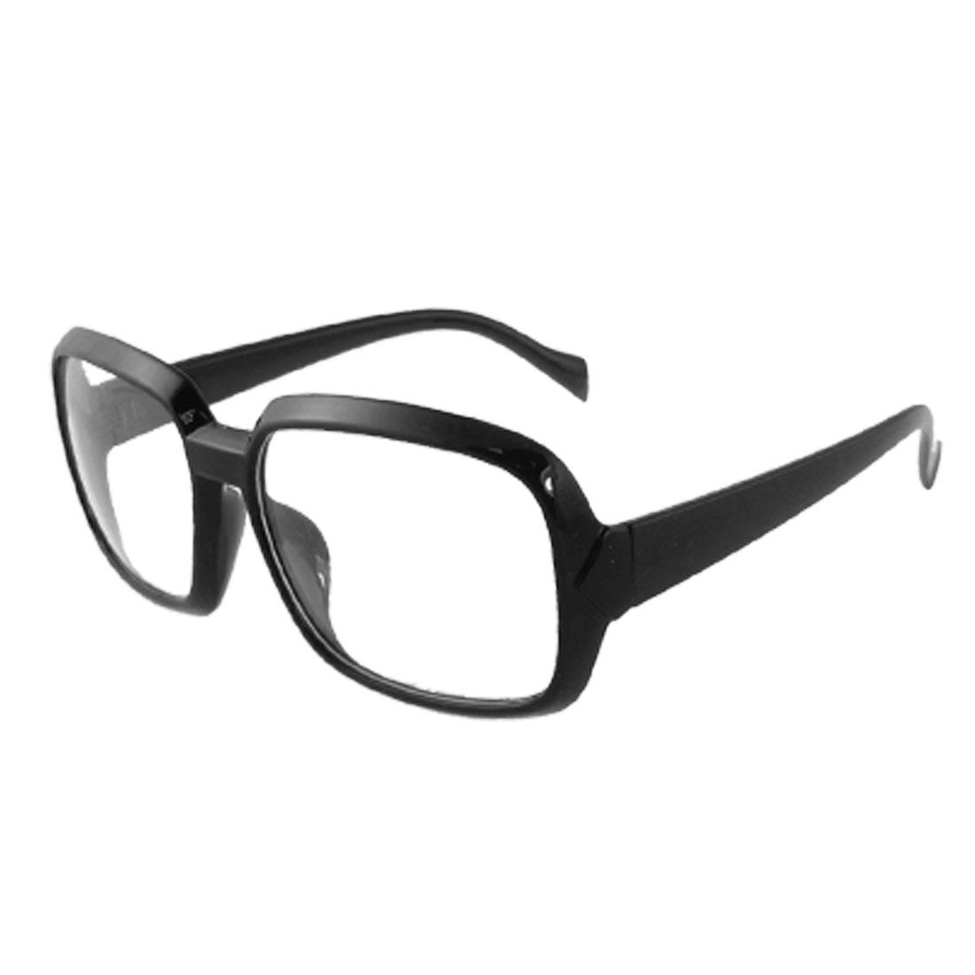 Woman Black Plastic Arms Full Frame Clear Lens Plano Glasses
