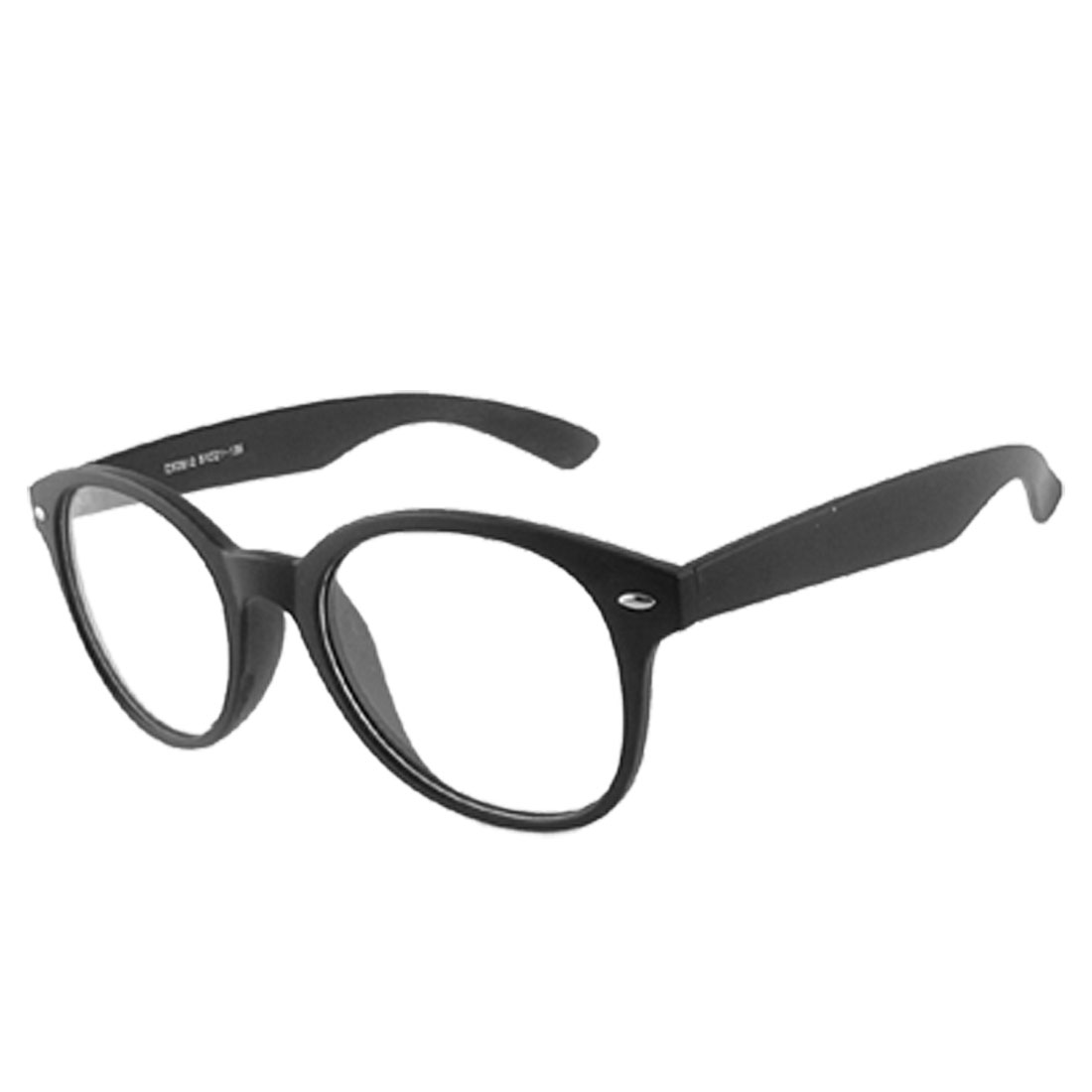 Woman Rubber Coated Black Plactic Rim Clear Lens Glasses Spectacles