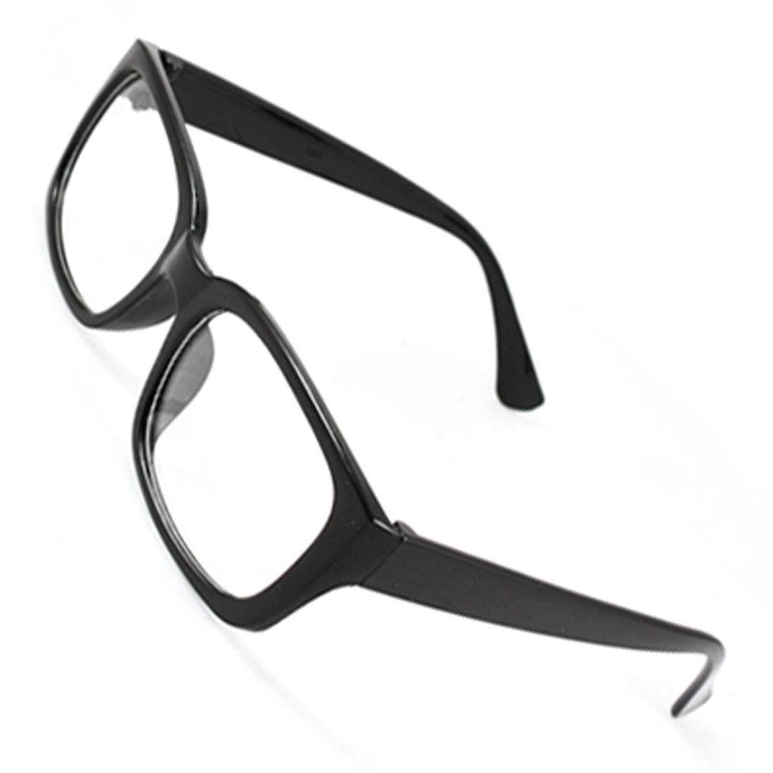 Lady Man Black Shiny Plastic Arms Full Frame Rectangle Clear Lens Plain Glasses