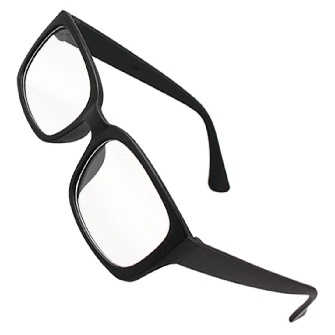 Plastic Arms Rectangle Frame Rubberized Full Rim Clear Lens Glasses Black for Unisex