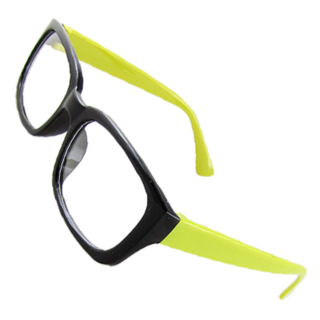 Unisex Lemon Green Arms Black Plastic Full Frame Single Bridge Clear Lens Glasses