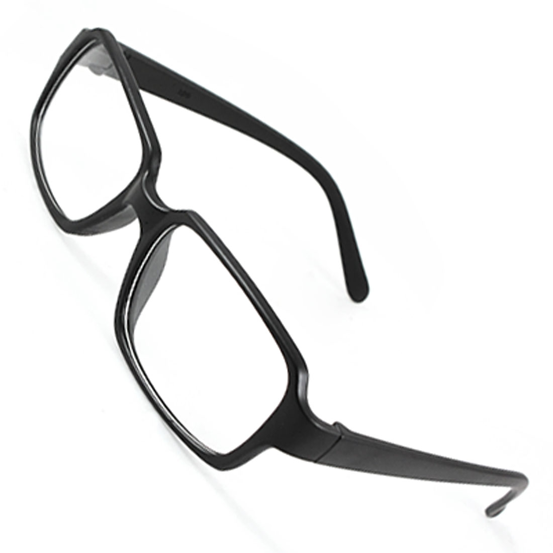Rectangle Thin Frame Plastic Slim Arms Full Rim Plain Glasses Black for Men Women