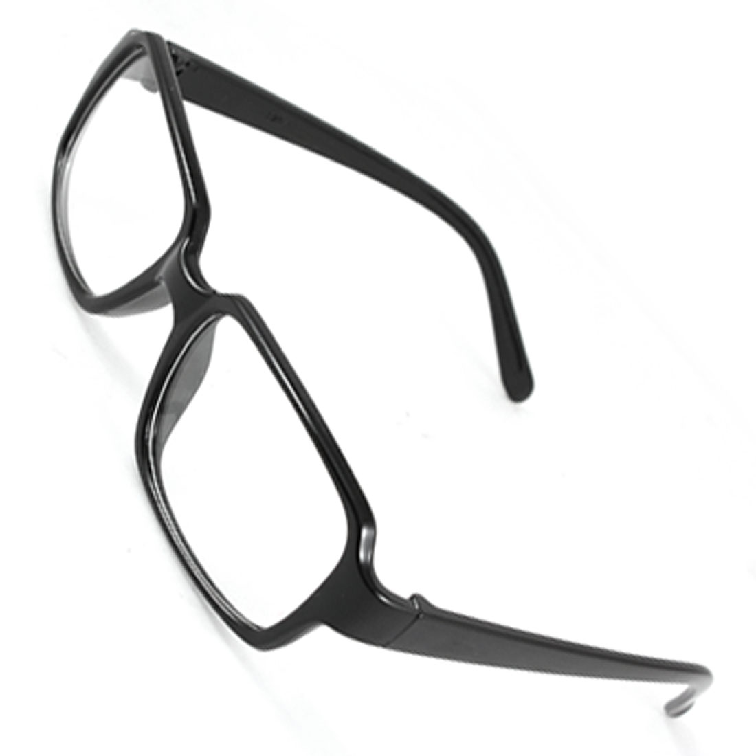 Men Women Black Plastic Slim Arms Full Rim Rectangle Clear Lens Plain Glasses