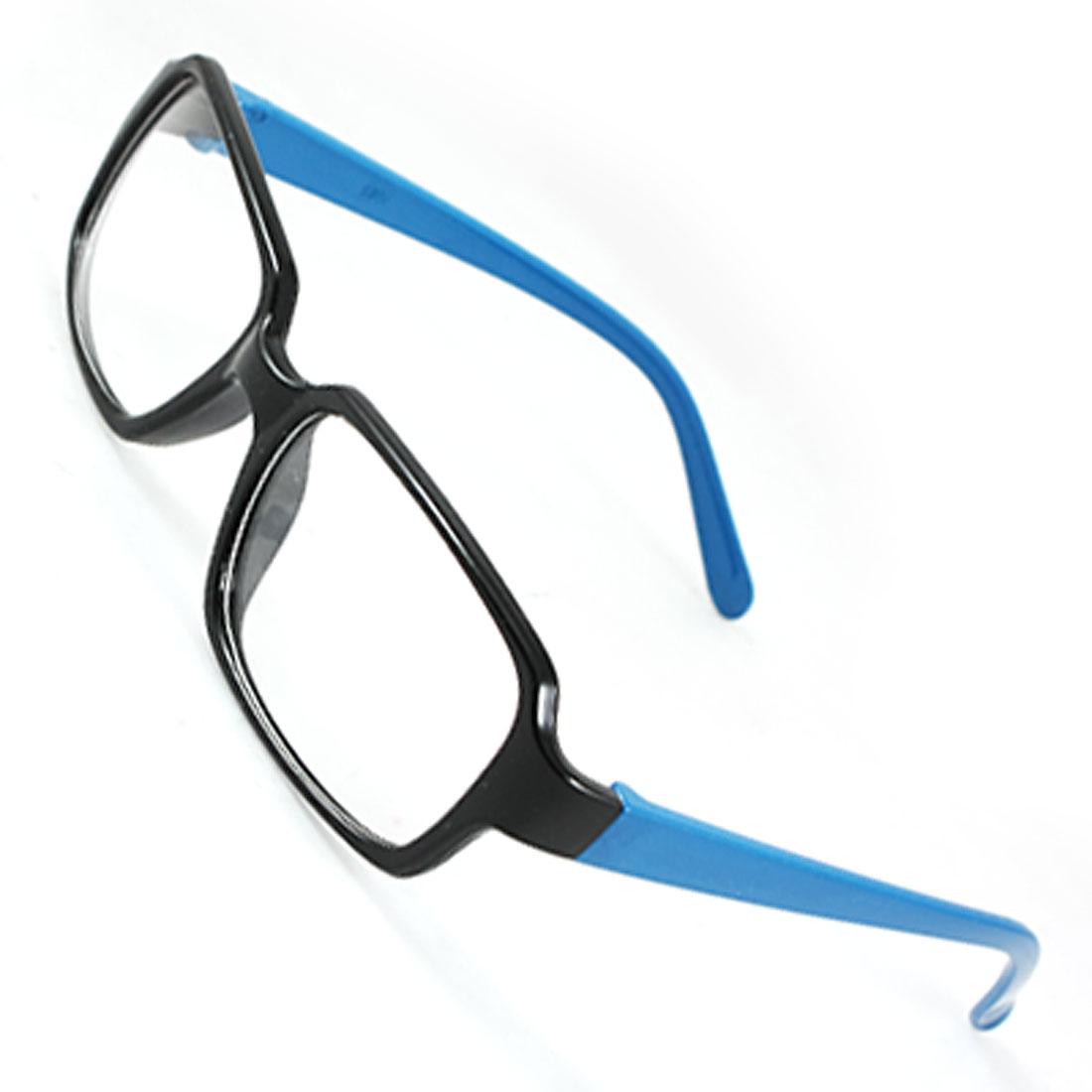 Black Rectangular Full Frame Royal Blue Plastic Slim Arms Clear Lens Glasses for Men Women