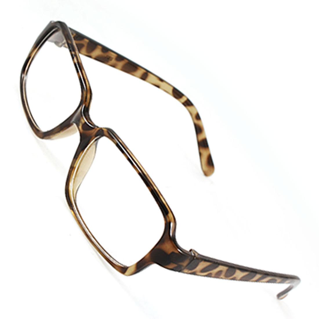 Unisex Brown Leopard Print Plastic Thin Frame Slim Arms Full Rimmed Plano Glasses