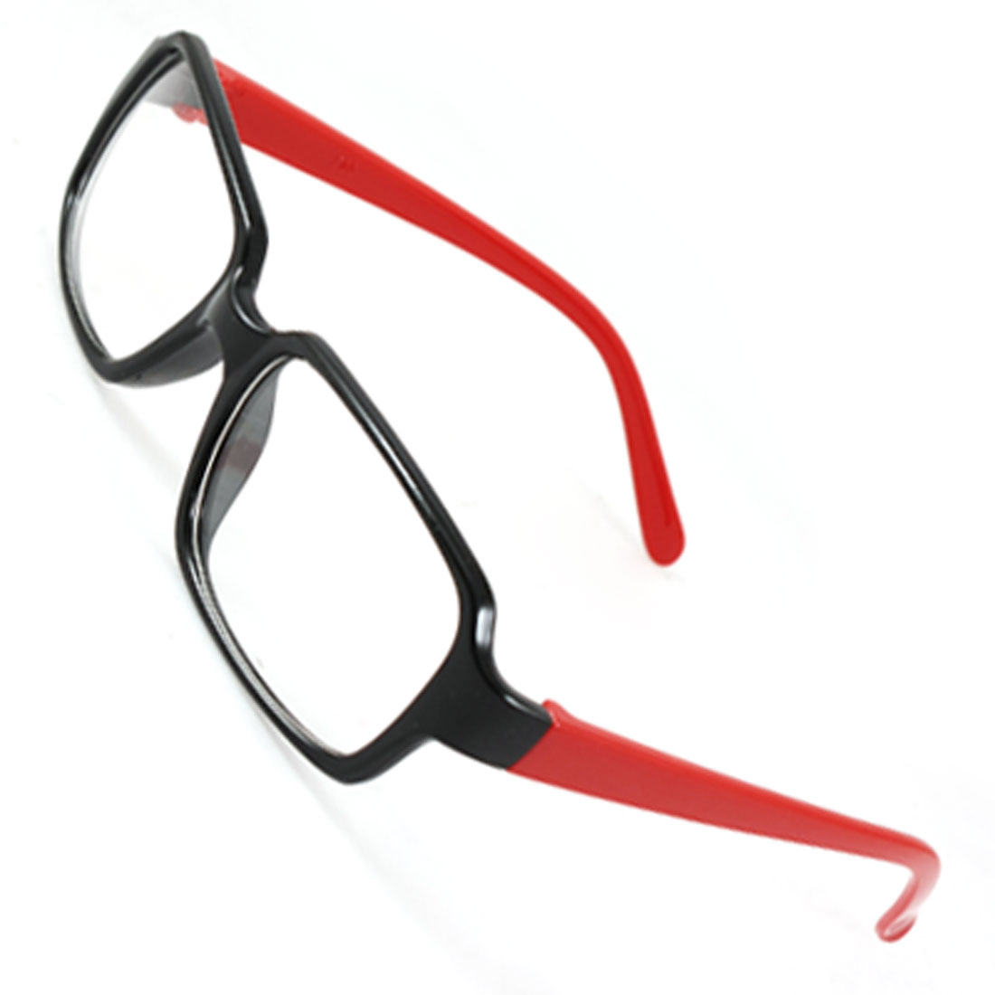 Unisex Black Plastic Rectangle Frame Red Slim Arms Full Rim Plano Glasses Spectacles