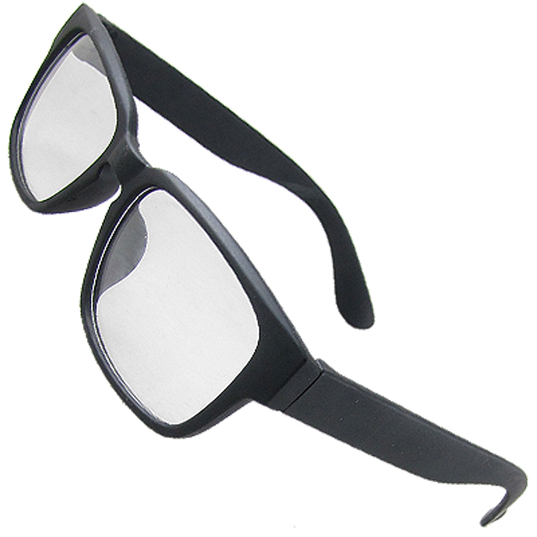 Unisex Dim Black Plastic Full Rim Clear Lens Spectacles