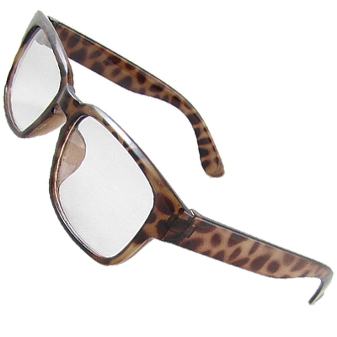 Woman Leopard Pattern Plastic Frame Clear Lens Spectacles
