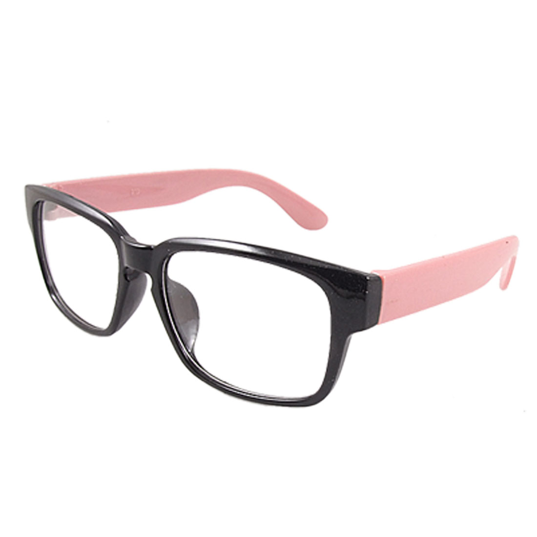 Women Black Pink Plastic Arms Clear Lens Spectacles Glasses