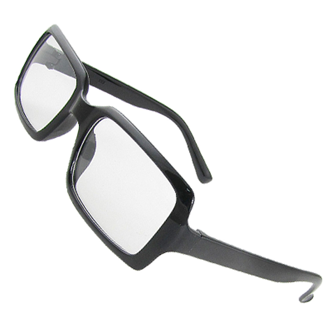Woman Man Plastic Black Full Rim Clear Lens Spectacles Eyewear