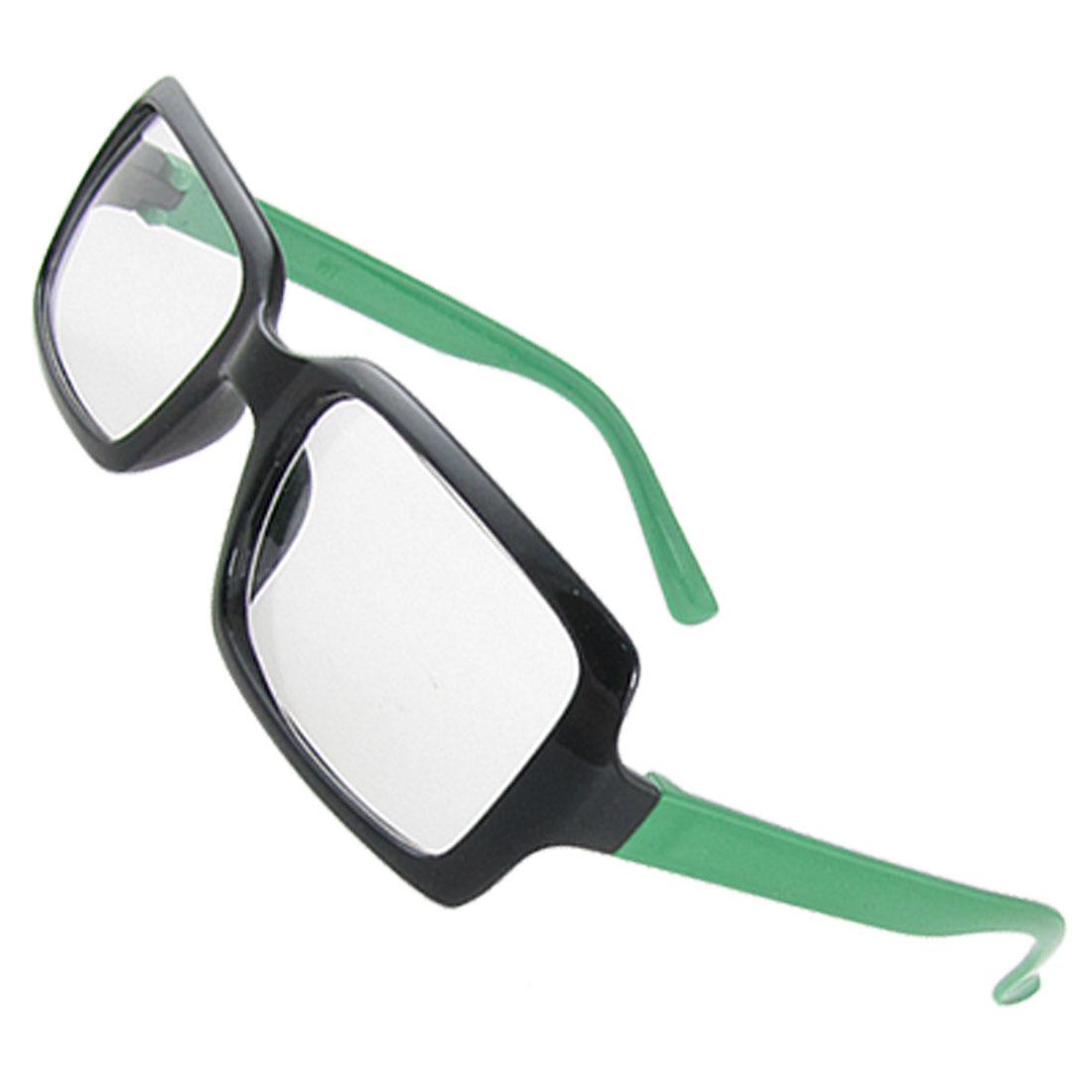 Lady Clear Lens Green Black Plastic Full Rim Plano Glasses