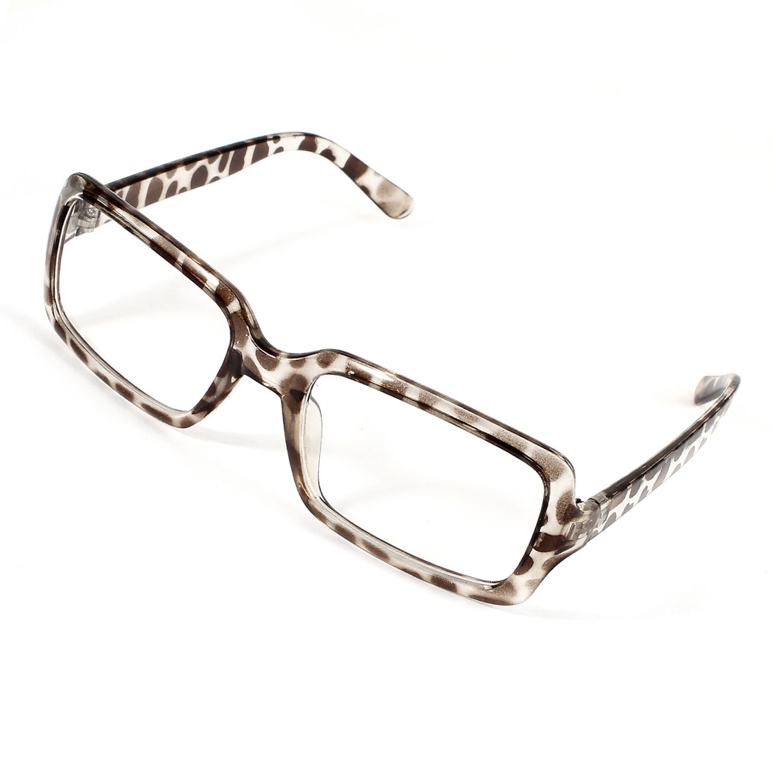 Women Leopard Printed Plastic Full Frame Clear Lens Plain Glasses