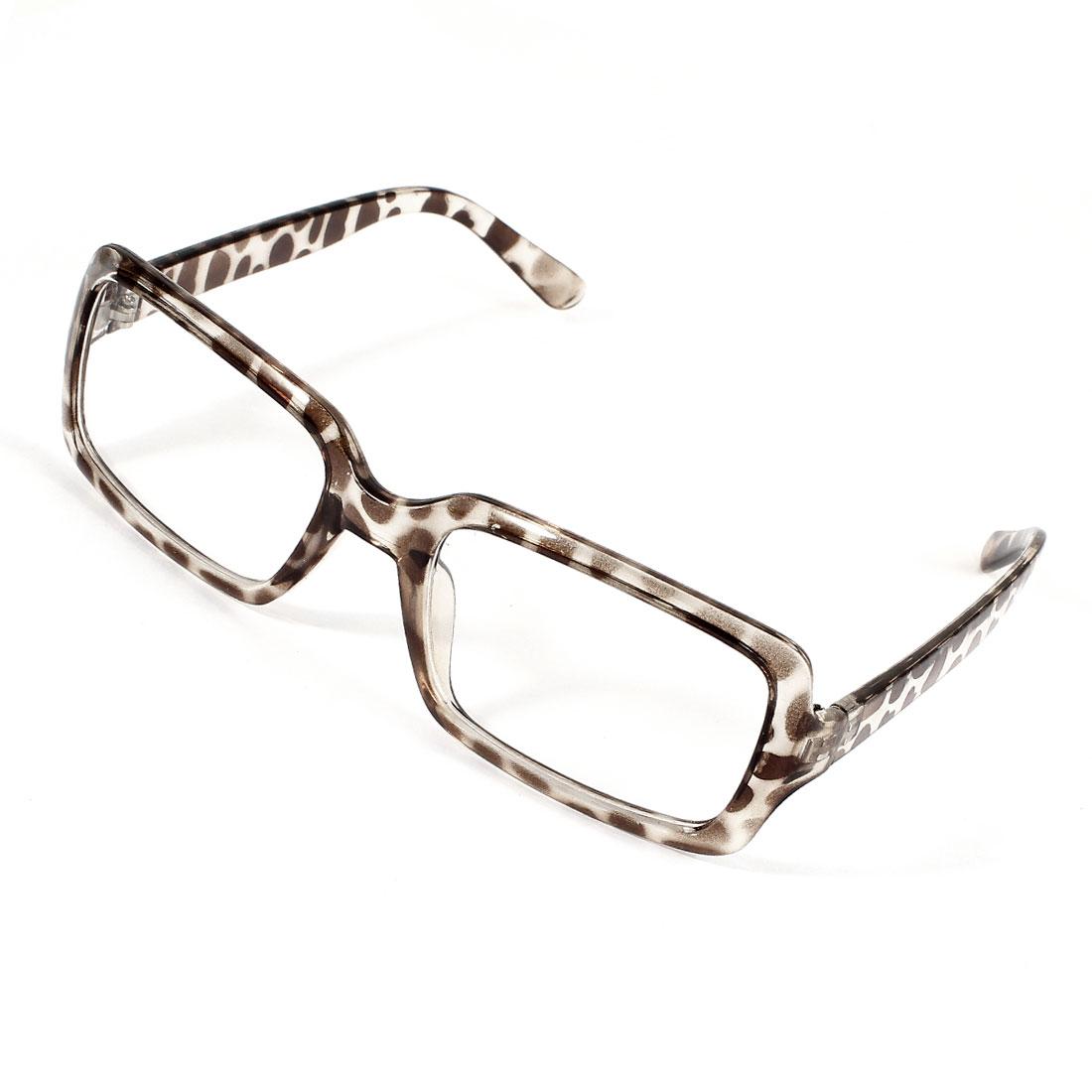 Women Leopard Printed Plastic Full Frame Clear Lens Plain Glasses
