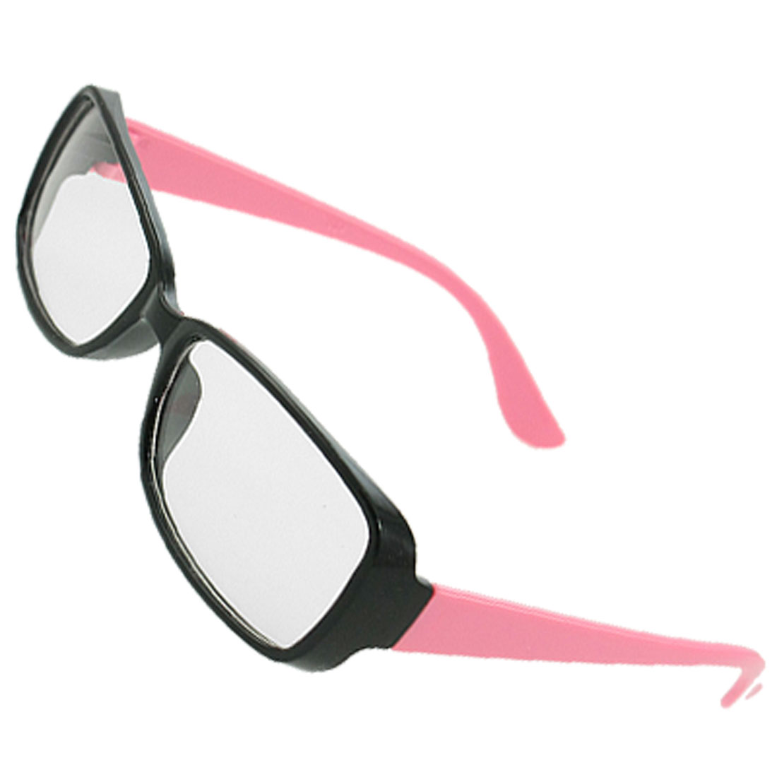 Women Black Plastic Full Frame Pink Arms Rectangular Lens Plain Glasses
