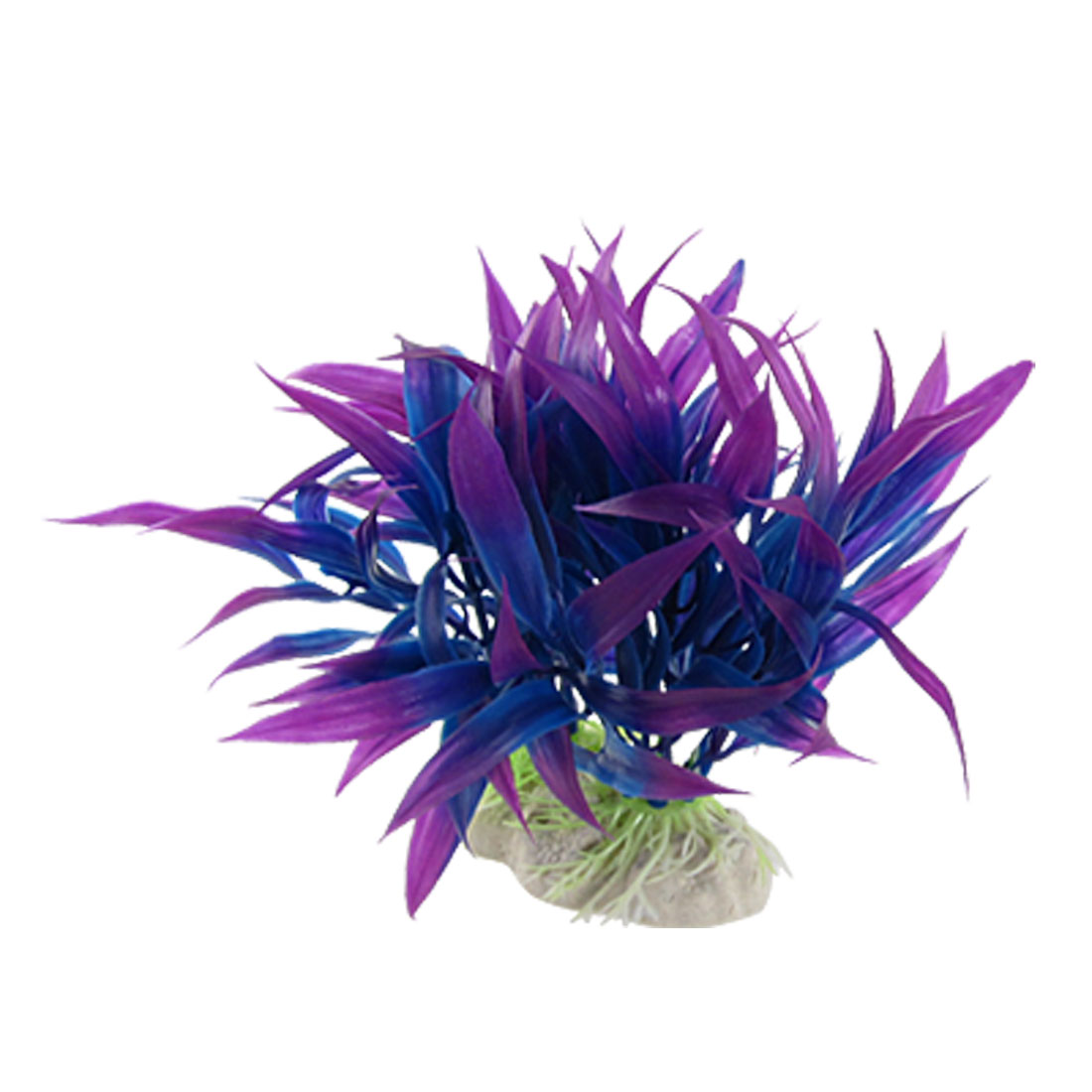 Aquarium Decor Ceramic Base Plastic Grass Plant Purple Blue