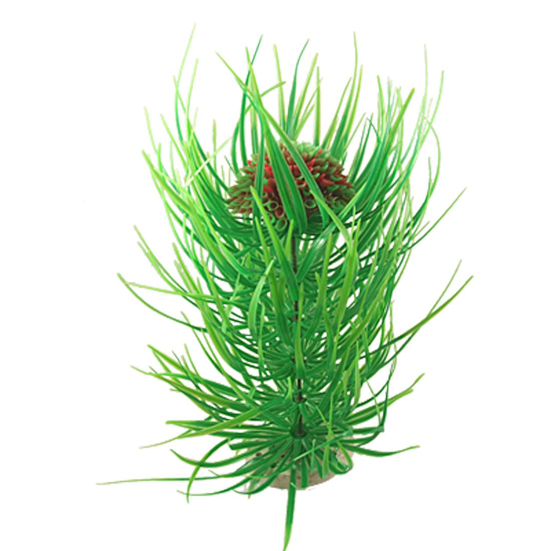 Red Green Plastic Ball Grass Plant Decor for Fish Tank Aquarium