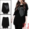 Allegra K Ladies Scoop Neck Long Sleeves Black Loose Tunic Shirt S Black Gray S