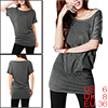 Allegra K Ladies Batwing Sleeves Clear Decor Scoop Neck Tunic Shirt Dark Gray S