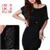 Women Clear Crystal Decor Scoop Neck Bat Sleeve Tunic Shirt S