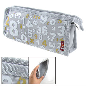 Numbers Pattern Nylon Zipper Pencil Holder Bag Pouch Gray