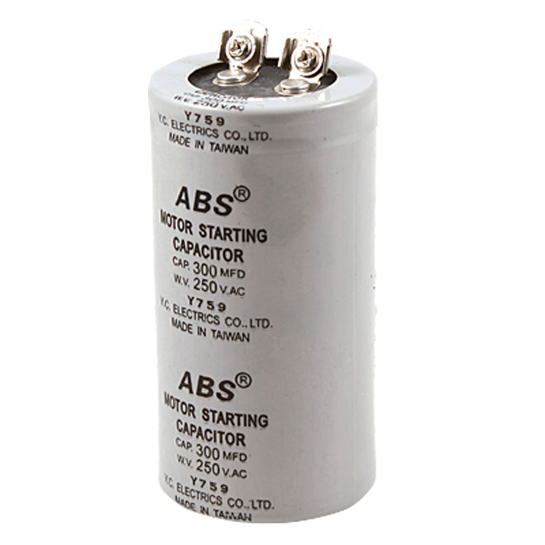 Gray Cylinder 300uF 300MFD 250V AC Motor Start-up Capacitor
